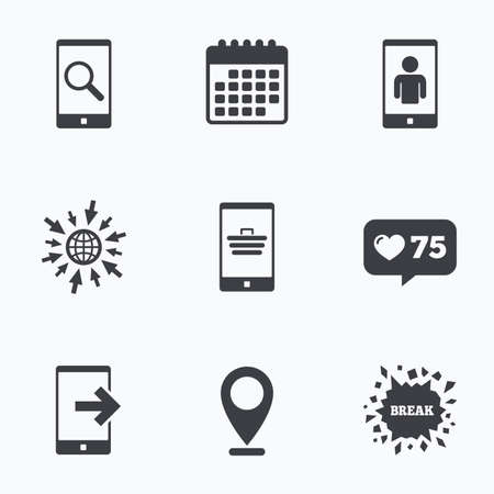 outcoming: Calendar, like counter and go to web icons. Phone icons. Smartphone video call sign. Search, online shopping symbols. Outcoming call. Location pointer. Illustration