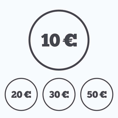 eur: Money in Euro icons. 10, 20, 30 and 50 EUR symbols. Money signs Icons in circles.