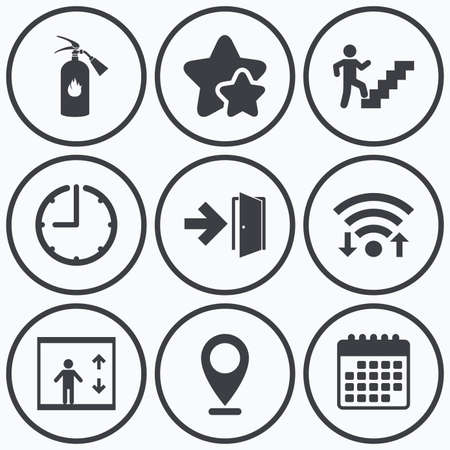 stairwell: Clock, wifi and stars icons. Emergency exit icons. Fire extinguisher sign. Elevator or lift symbol. Fire exit through the stairwell. Calendar symbol. Illustration
