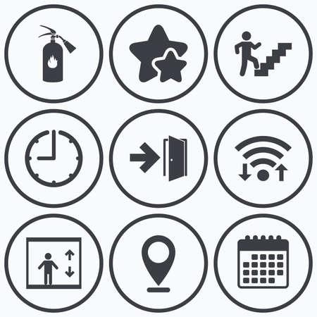 Klok, wifi en sterren iconen. Nooduitgang pictogrammen. Brandblusser teken. Lift of lift symbool. Nooduitgang door het trappenhuis. Kalender symbool.