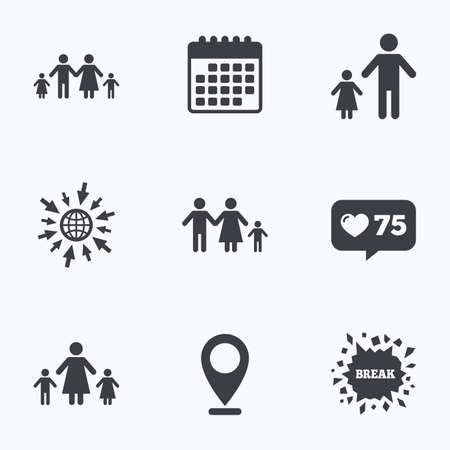 orphan: Calendar, like counter and go to web icons. Family with two children icon. Parents and kids symbols. One-parent family signs. Mother and father divorce. Location pointer.