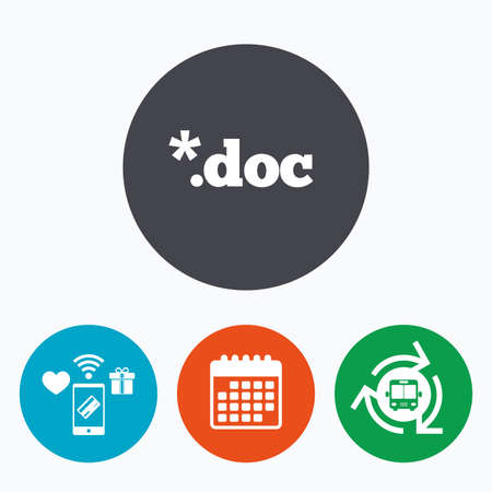 doc: File document icon. Download doc button. Doc file extension symbol. Mobile payments, calendar and wifi icons. Bus shuttle. Illustration