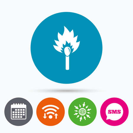 burns: Wifi, Sms and calendar icons. Match stick burns icon. Burning matchstick sign. Fire symbol. Go to web globe.