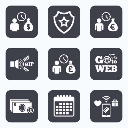 information symbol: Mobile payments, wifi and calendar icons. Bank loans icons. Cash money bag symbols. Borrow money sign. Get Dollar money fast. Go to web symbol.