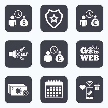 borrow: Mobile payments, wifi and calendar icons. Bank loans icons. Cash money bag symbols. Borrow money sign. Get Dollar money fast. Go to web symbol.
