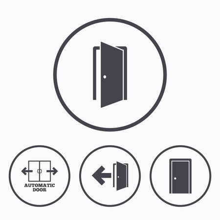 automatic doors: Automatic door icon. Emergency exit with arrow symbols. Fire exit signs. Icons in circles.