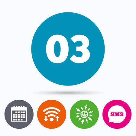 03: Wifi, Sms and calendar icons. Third step sign. Loading process symbol. Step three. Go to web globe. Illustration
