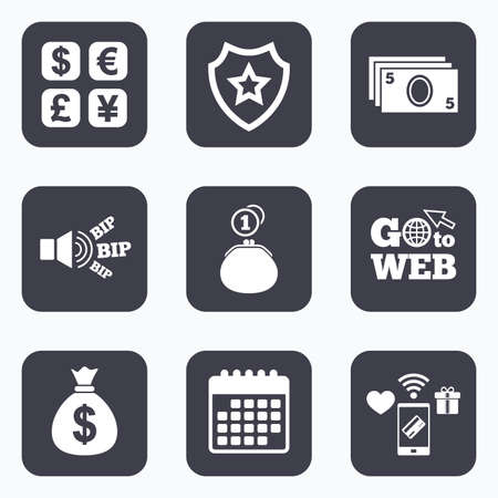currency converter: Mobile payments, wifi and calendar icons. Currency exchange icon. Cash money bag and wallet with coins signs. Dollar, euro, pound, yen symbols. Go to web symbol.