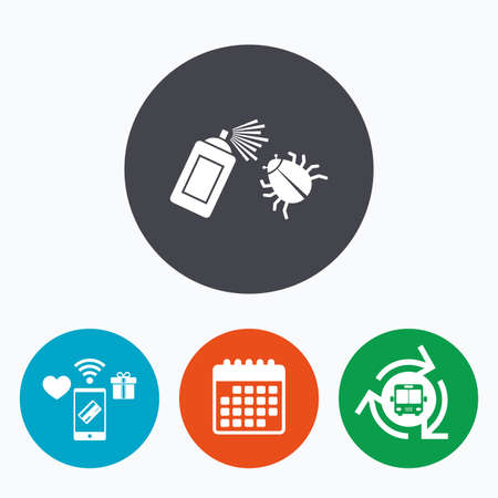 sprayer: Bug disinfection sign icon. Fumigation symbol. Bug sprayer. Mobile payments, calendar and wifi icons. Bus shuttle.