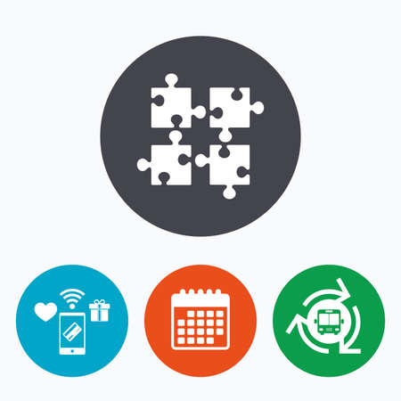 ingenuity: Puzzles pieces sign icon. Strategy symbol. Ingenuity test game. Mobile payments, calendar and wifi icons. Bus shuttle.