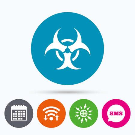 poison arrow: Wifi, Sms and calendar icons. Biohazard sign icon. Danger symbol. Go to web globe.