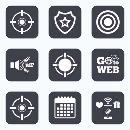 sights: Mobile payments, wifi and calendar icons. Crosshair icons. Target aim signs symbols. Weapon gun sights for shooting range. Go to web symbol.