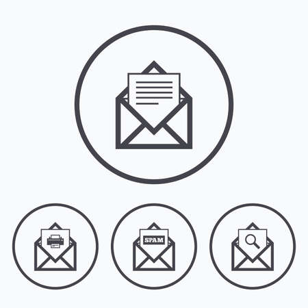 webmail: Mail envelope icons. Print message document symbol. Post office letter signs. Spam mails and search message icons. Icons in circles.
