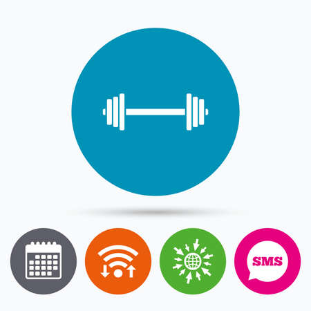 lifting globe: Wifi, Sms and calendar icons. Barbell sign icon. Muscle lifting symbol. Go to web globe. Illustration