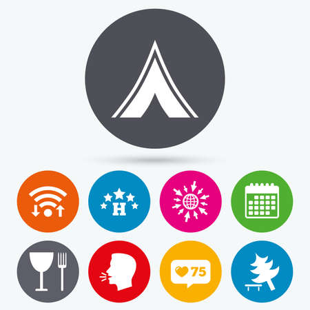 fork in road: Wifi, like counter and calendar icons. Food, hotel, camping tent and tree icons. Wineglass and fork. Break down tree. Road signs. Human talk, go to web. Illustration