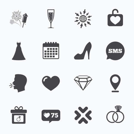 bubble talk: Calendar, go to web and like counter. Wedding, engagement icons. Locker with heart, gift box and fireworks signs. Dress, heart and champagne glass symbols. Sms speech bubble, talk symbols.