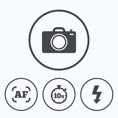 autofocus: Photo camera icon. Flash light and autofocus AF symbols. Stopwatch timer 10 seconds sign. Icons in circles.