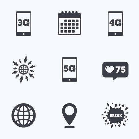3g: Calendar, like counter and go to web icons. Mobile telecommunications icons. 3G, 4G and 5G technology symbols. World globe sign. Location pointer.