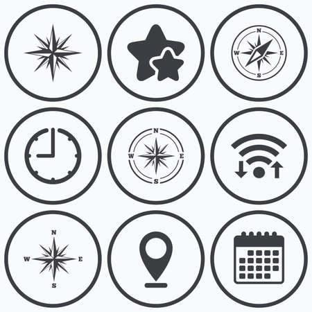 coordinate: Clock, wifi and stars icons. Windrose navigation icons. Compass symbols. Coordinate system sign. Calendar symbol.