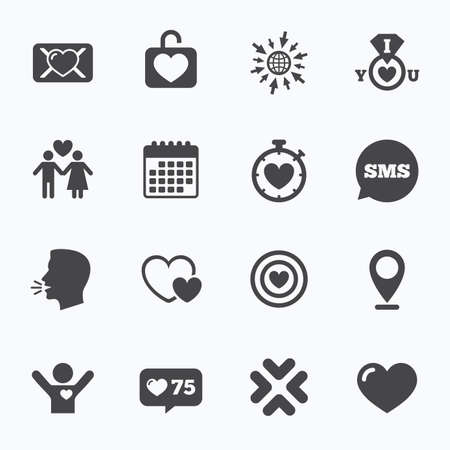 oath: Calendar, go to web and like counter. Love, valentine day icons. Target with heart, oath letter and locker symbols. Couple lovers, boyfriend signs. Sms speech bubble, talk symbols. Illustration