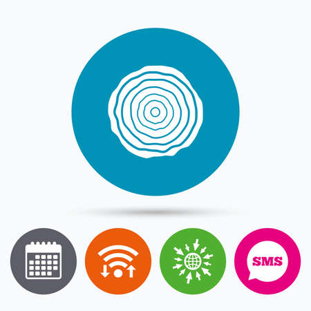 rings on a tree: Wifi, Sms and calendar icons. Wood sign icon. Tree growth rings. Tree trunk cross-section. Go to web globe.