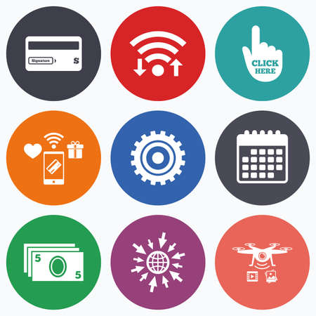 bank withdrawal: Wifi, mobile payments and drones icons. ATM cash machine withdrawal icons. Insert bank card, click here and check PIN, processing and get cash symbols. Calendar symbol. Illustration