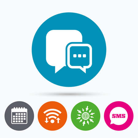 three dots: Wifi, Sms and calendar icons. Chat sign icon. Speech bubble with three dots symbol. Communication chat bubble. Go to web globe. Illustration