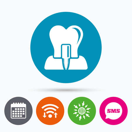 stomatologist: Wifi, Sms and calendar icons. Tooth implant icon. Dental endosseous implant sign. Dental care symbol. Go to web globe. Illustration