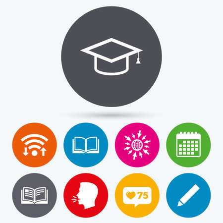 higher: Wifi, like counter and calendar icons. Pencil and open book icons. Graduation cap symbol. Higher education learn signs. Human talk, go to web.