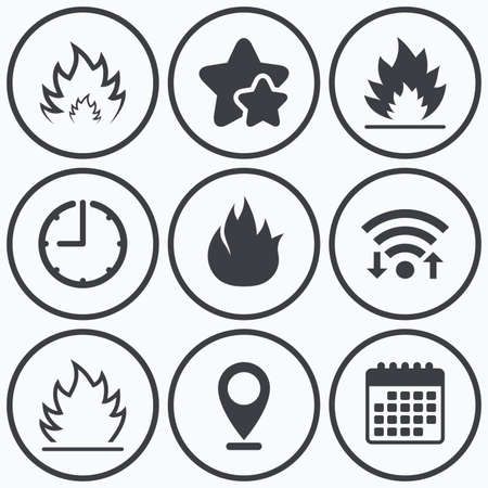inflammable: Clock, wifi and stars icons. Fire flame icons. Heat symbols. Inflammable signs. Calendar symbol. Illustration
