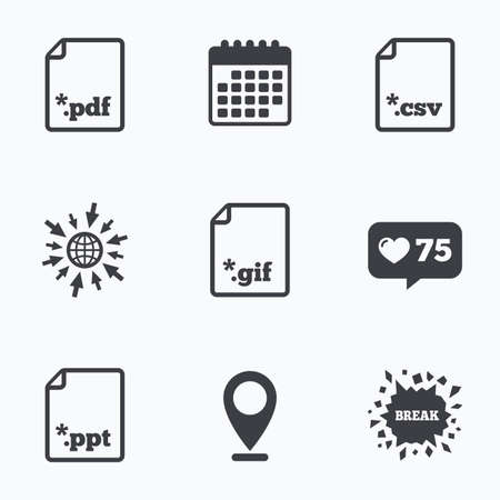 csv: Calendar, like counter and go to web icons. Download document icons. File extensions symbols. PDF, GIF, CSV and PPT presentation signs. Location pointer. Illustration