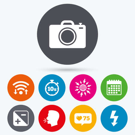 luminance: Wifi, like counter and calendar icons. Photo camera icon. Flash light and exposure symbols. Stopwatch timer 10 seconds sign. Human talk, go to web.