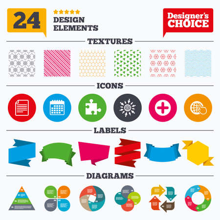 puzzle globe: Banner tags, stickers and chart graph. Plus add circle and puzzle piece icons. Document file and globe with hand pointer sign symbols. Linear patterns and textures. Illustration