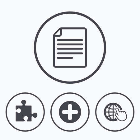 folded hand: Plus add circle and puzzle piece icons. Document file and globe with hand pointer sign symbols. Icons in circles.