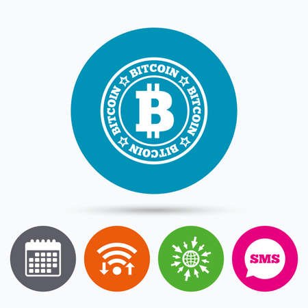 cryptography: Wifi, Sms and calendar icons. Bitcoin sign icon. Cryptography currency symbol. P2P. Go to web globe.