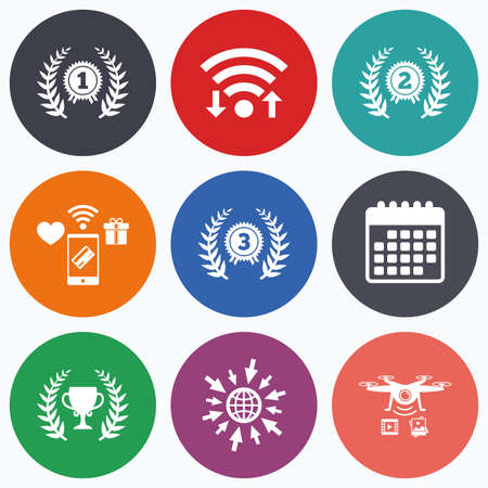 second prize: Wifi, mobile payments and drones icons. Laurel wreath award icons. Prize cup for winner signs. First, second and third place medals symbols. Calendar symbol. Illustration