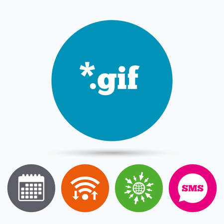 gif: Wifi, Sms and calendar icons. File GIF sign icon. Download image file symbol. Go to web globe. Illustration