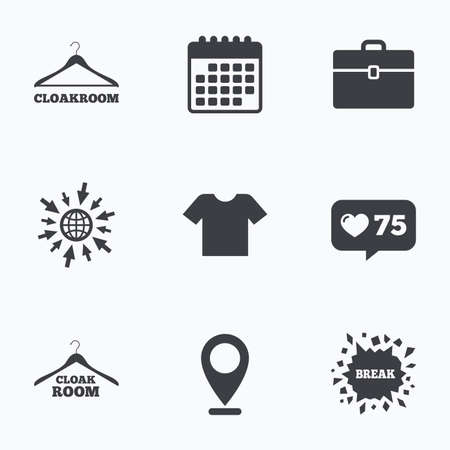 cloakroom: Calendar, like counter and go to web icons. Cloakroom icons. Hanger wardrobe signs. T-shirt clothes and baggage symbols. Location pointer. Illustration