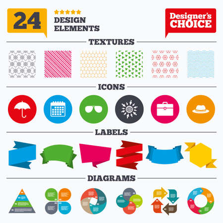business case: Banner tags, stickers and chart graph. Clothing accessories icons. Umbrella and sunglasses signs. Headdress hat with business case symbols. Linear patterns and textures.