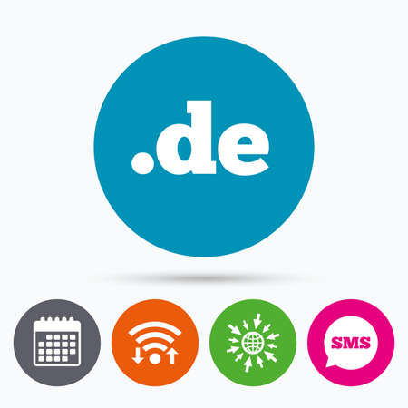 domain: Wifi, Sms and calendar icons. Domain DE sign icon. Top-level internet domain symbol. Go to web globe.