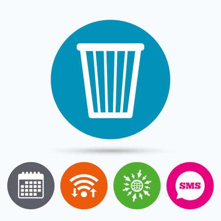utilization: Wifi, Sms and calendar icons. Recycle bin sign icon. Bin symbol. Go to web globe.