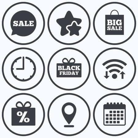 big timer: Clock, wifi and stars icons. Sale speech bubble icon. Black friday gift box symbol. Big sale shopping bag. Discount percent sign. Calendar symbol. Illustration