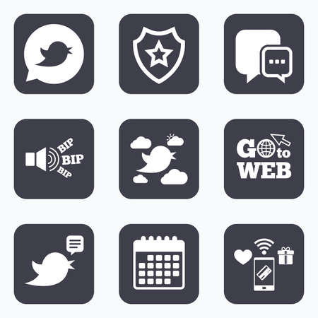 three points: Mobile payments, wifi and calendar icons. Birds icons. Social media speech bubble. Short messages chat symbol. Go to web symbol.