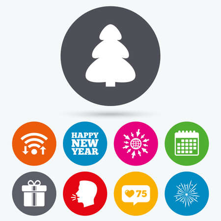 new year counter: Wifi, like counter and calendar icons. Happy new year icon. Christmas tree and gift box signs. Fireworks explosive symbol. Human talk, go to web.