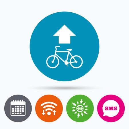 straight path: Wifi, Sms and calendar icons. Bicycle path trail sign icon. Cycle path. Up straight arrow symbol. Go to web globe. Illustration