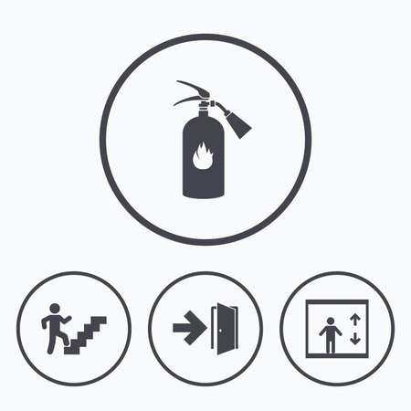 Nooduitgang pictogrammen. Brandblusser teken. Lift of lift symbool. Nooduitgang door het trappenhuis. Pictogrammen in cirkels.