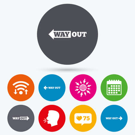 way to go: Wifi, like counter and calendar icons. Way out icons. Left and right arrows symbols. Direction signs in the subway. Human talk, go to web.
