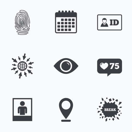 authentication: Calendar, like counter and go to web icons. Identity ID card badge icons. Eye and fingerprint symbols. Authentication signs. Photo frame with human person. Location pointer.