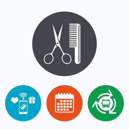 comb hair: Comb hair with scissors sign icon. Barber symbol. Mobile payments, calendar and wifi icons. Bus shuttle.