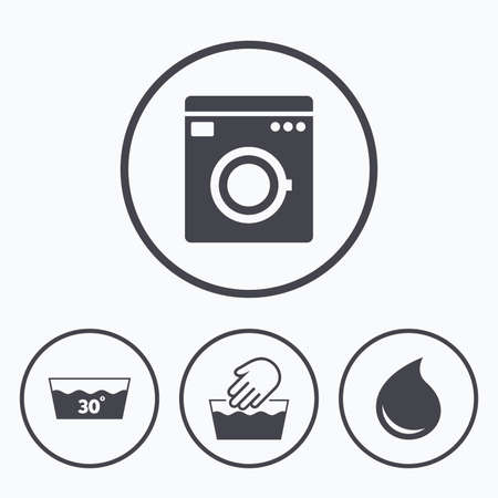 washhouse: Hand wash icon. Machine washable at 30 degrees symbols. Laundry washhouse and water drop signs. Icons in circles.